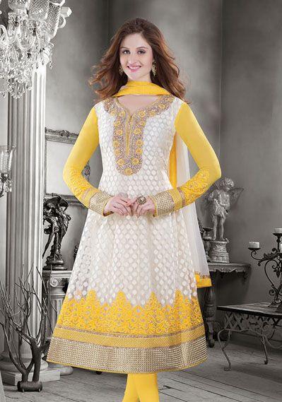 USD 181.43 Off White Net Anarkali Suit 35917