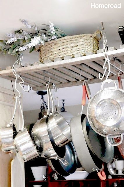 Wooden pot rack from potting bench a crib sida could also for Reclaimed wood pot rack