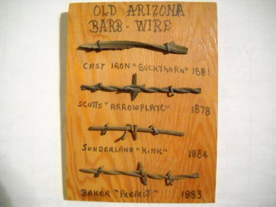 Old Arizona Barb Wire Collection Wood Sign 8 x 6 Sampler by TntbrbefanDolls on etsy
