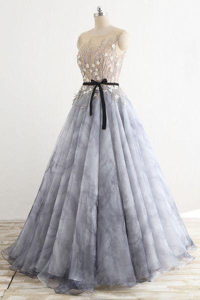 935916f7f1d 2018 Fashion A-Line Chiffon Lace Appliques Prom Dresses