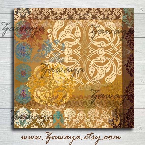 Offwhite Golden Beige Canvas Art Wall Decor Interior Design Print Artwork Vintage Arabic Ornamenation