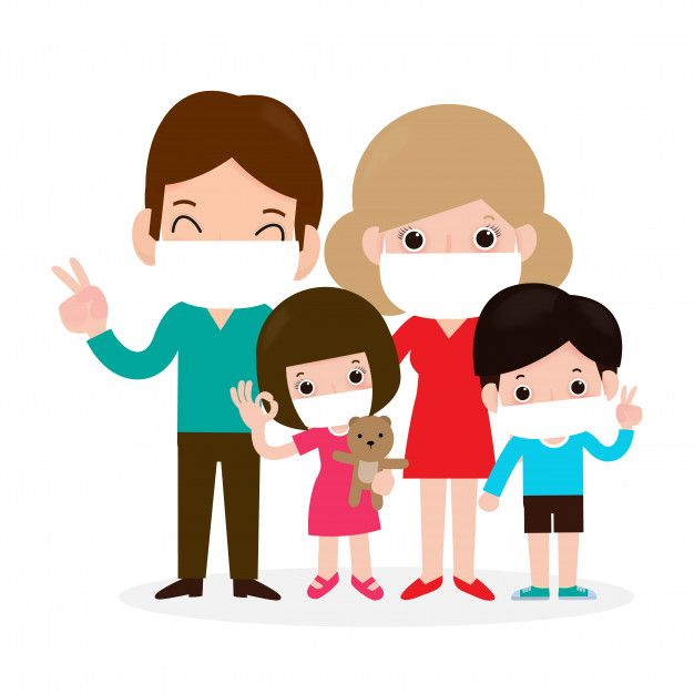 Family Wearing Mask Protection Illustration In 2020 Illustration