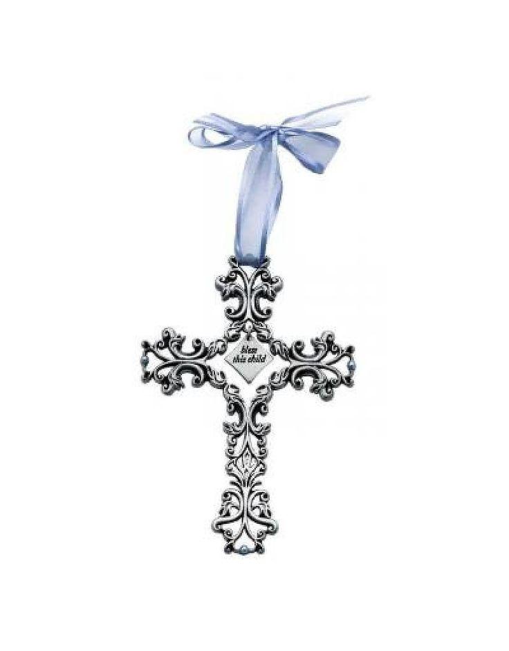 Kruisje Bless This Child (blauw strikje)