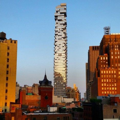 "Herzog & de Meuron's 56 Leonard ""Jenga tower"" nears completion in New York."