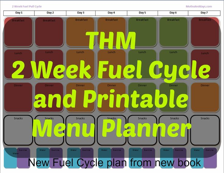 #THM 2 week fuel cycle and color coded printable  Menu Planner #fitness #planner