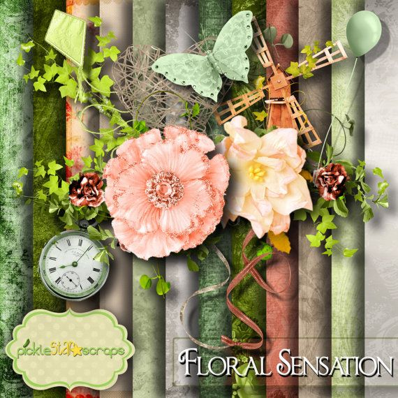 Flower Scrapbooking Kit Floral printable by PickleStarScraps