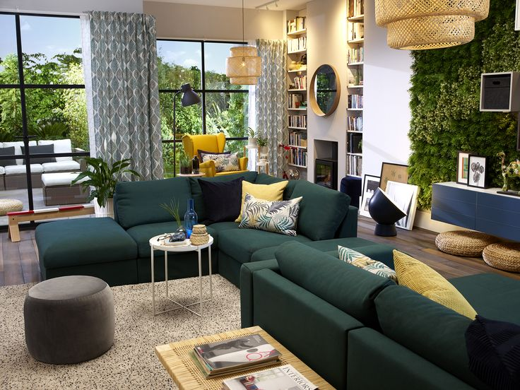 image result for ikea vimle sofa green  ikea living room