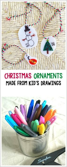Turn kid drawings into homemade Christmas ornaments using shrink film! Super easy ornament craft that makes a special keepsake!~ BuggyandBuddy.com