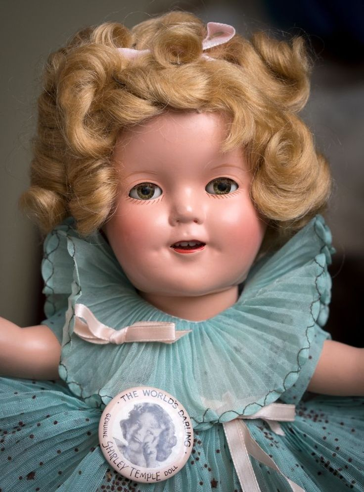 Vintage Shirley Temple Composition Doll 1930s 13 Inch Clear Eyes Starburst Dress #Dolls