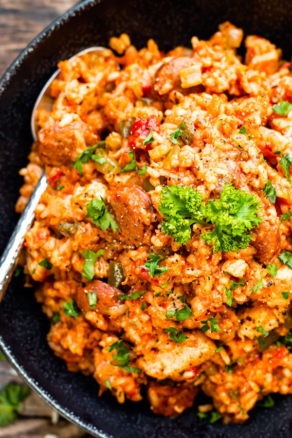 Sausage & Chicken Cajun Jambalaya has all of the flavors of authentic jambalaya. It comes together in one pot, is gluten-free and dairy-free!