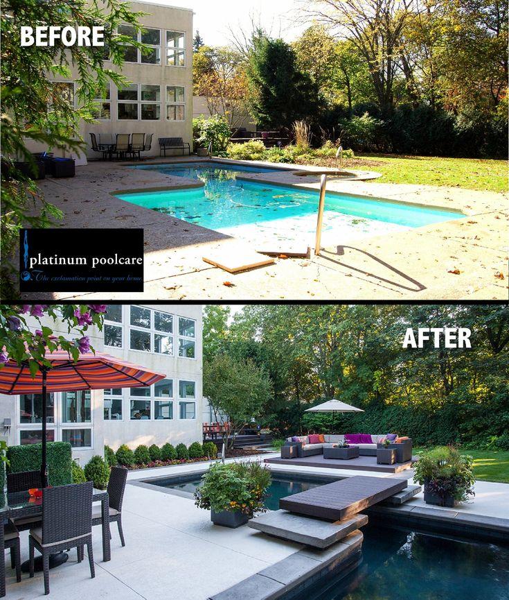 Landscape Lighting Highland Park: Swimming Pool Renovation Before And After In Highland Park