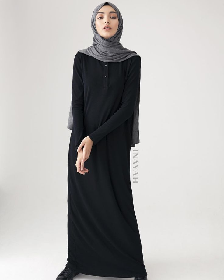 INAYAH | NEW ARRIVALS - We go through meticulous design stages to ensure perfection. Our updated and refined Black Basic Shirt Abaya is specifically designed for today's active, modest woman and is perfect for those working or studying due to it's minimal, easy and comfortable design - Black #Basic #Shirt #Abaya + Dark Grey #Rayon #Blend #Jersey #Hijab - www.inayah.co