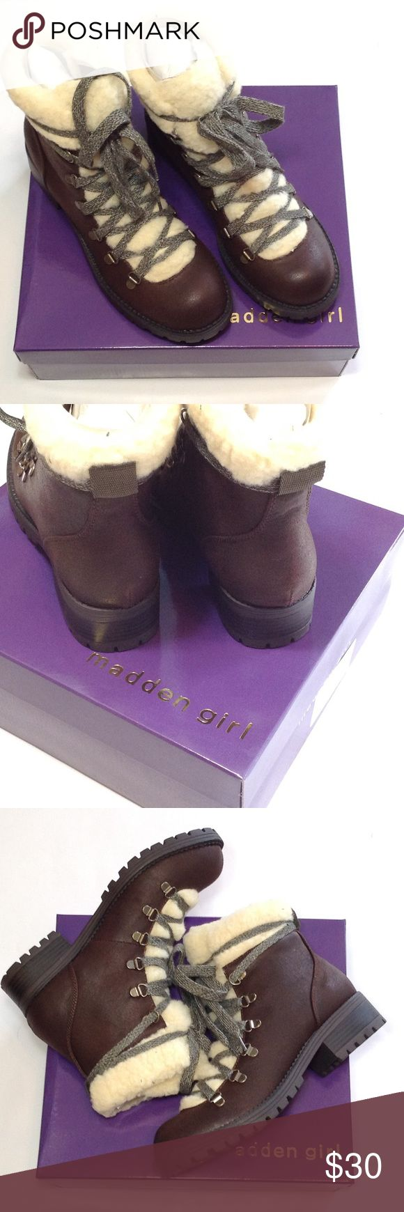 """item!  Madden Girl hiking boot So ready for Fall!!  Boot has faux-shearling tongue & collar. Shaft about 5"""" form arch, boot opening about 6"""" around. Madden Girl Shoes"""