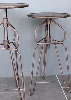 KAGADATO selection. The best in the world. Industrial design. ************************************** Industrial Adjustable Stool In Antique Brown