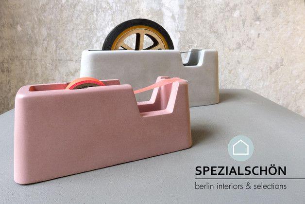 Hingucker: Klebebandabroller aus Beton / tape dispenser made of concrete, modern living, workspace by spezialschön via DaWanda.com