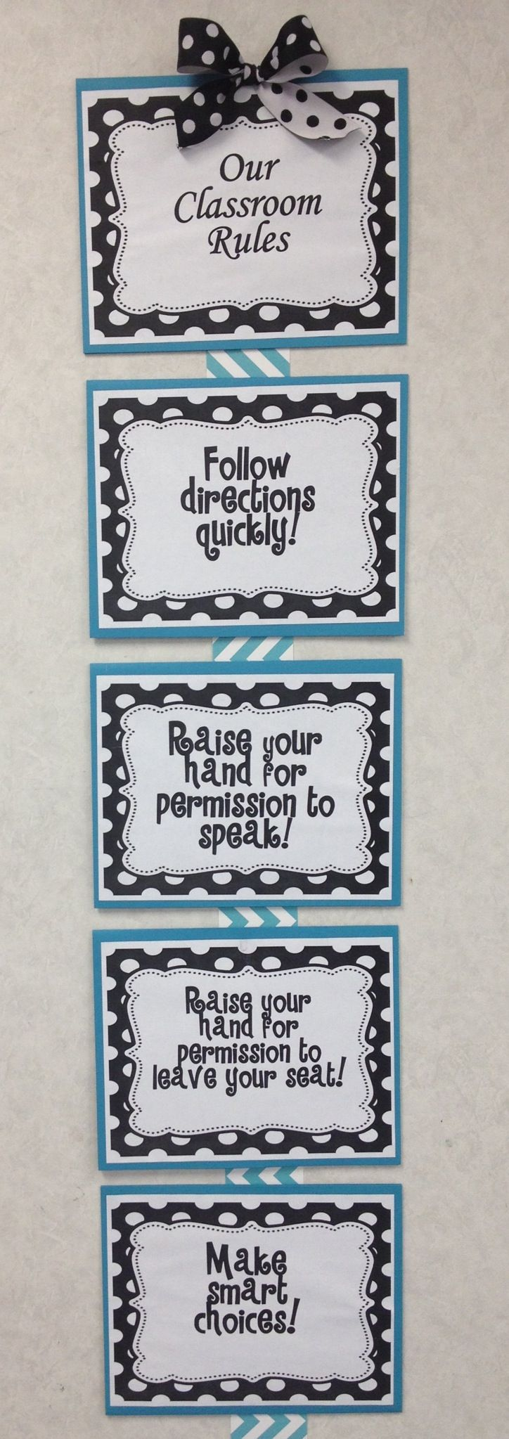 Whole Brain Teaching Chevron and Polka Dot Classroom Rules from Teachers Pay Teachers I printed for my third grade class this year.