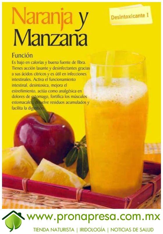 Jugo Natural de Naranja y Manzana: Desintoxicante I. #ConsejosDeSalud #Desintoxicante #TipsSaludables