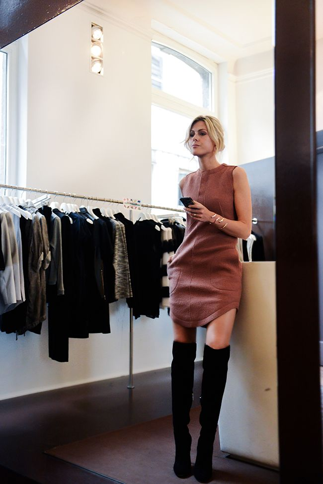 carven shift dress + gianvitto rossi knee highs + sofie valkiers bracelets