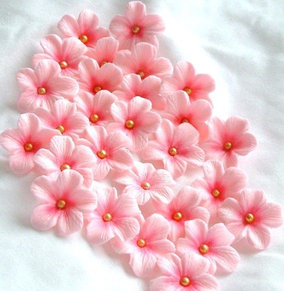 Edible Gum paste Flowers for your Wedding cake.  They come in many colors. 25 Flowers for $8.00.