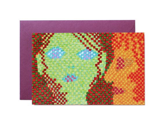Pixel coupleArt print-Postcard by Pionara on Etsy