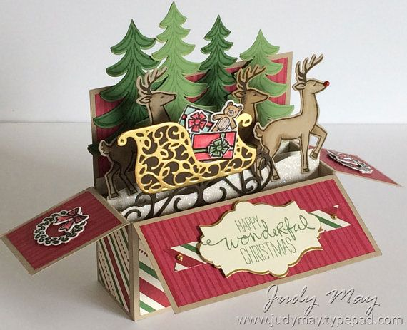 Craft Tutorial Santa S Sleigh Card In A Box Tutorial In 2020 Boxed Christmas Cards Christmas Cards Handmade Pop Up Box Cards