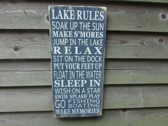 Lake rules sign, family rules sign, country home decor, porch rules sign, rustic signs, Primitive home decor.