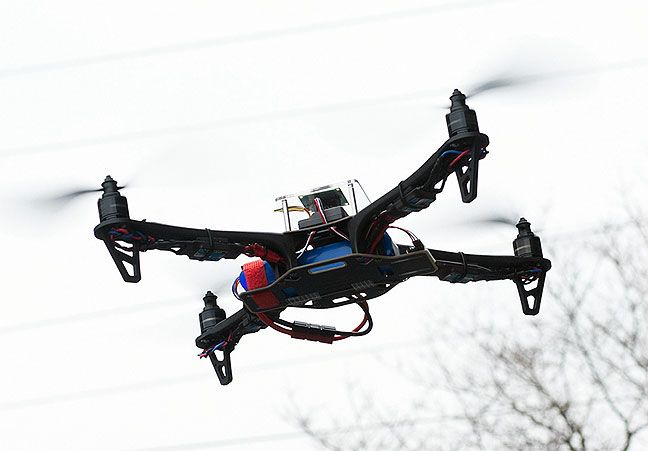 A man who was arrested this year after authorities said he refused to stop flying a camera-equipped, remote-controlled device over a crash scene had all the charges against him dismissed today.