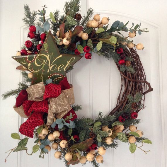 Traditional Christmas Wreath by BeachyWreaths on Etsy