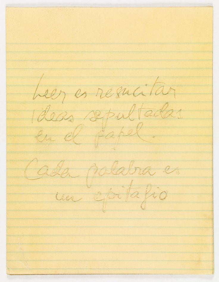 Luis Camnitzer Leer es resucitar ideas sepultados en el papel. Cada palabra es un epitafio., 1992 Papier 31 x 37 cm pièce unique