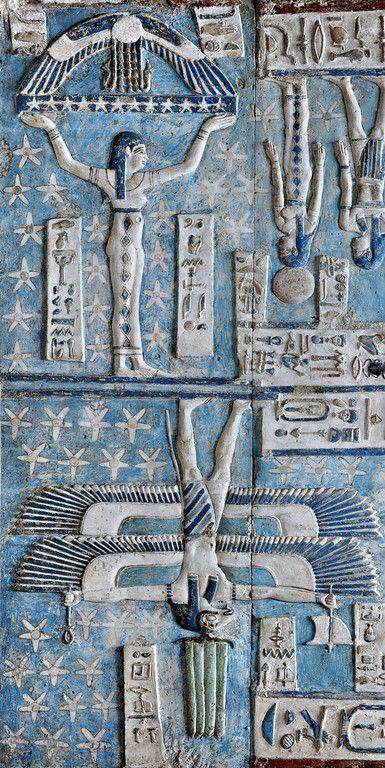Una diosa está apoyando el cielo con sus brazos levantados en el techo astronómico, en la sala hipóstila exterior del templo de Hathor en Dendera . Un disco solar alado se cierne sobre ella. (Via Patty Flagler)
