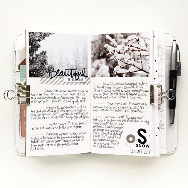 Last week is in the books. Let's see if I can keep up on my entries this year. ;) Cut 'beautiful' and 'S' in vinyl. Used 'SNOW' from 'Let It Snow' stamp in Better Not Pout. Time Again stamps for days of the week. #kbstravelersnotebook #kbsstamps