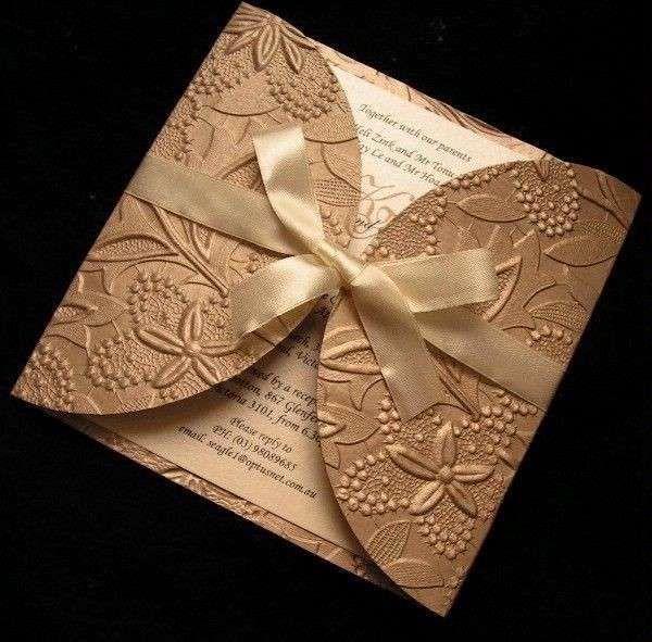 Partecipazioni di matrimonio originali - Color bronzo per la partecipazione di nozze
