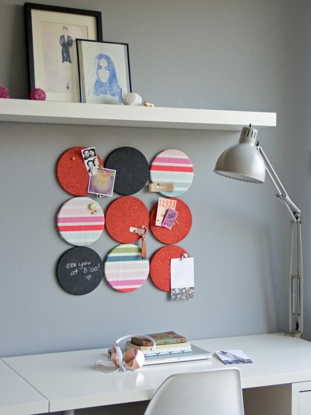 The crafting experts at HGTV.com share an easy DIY project for turning round cork trivets into dorm room bulletin boards.