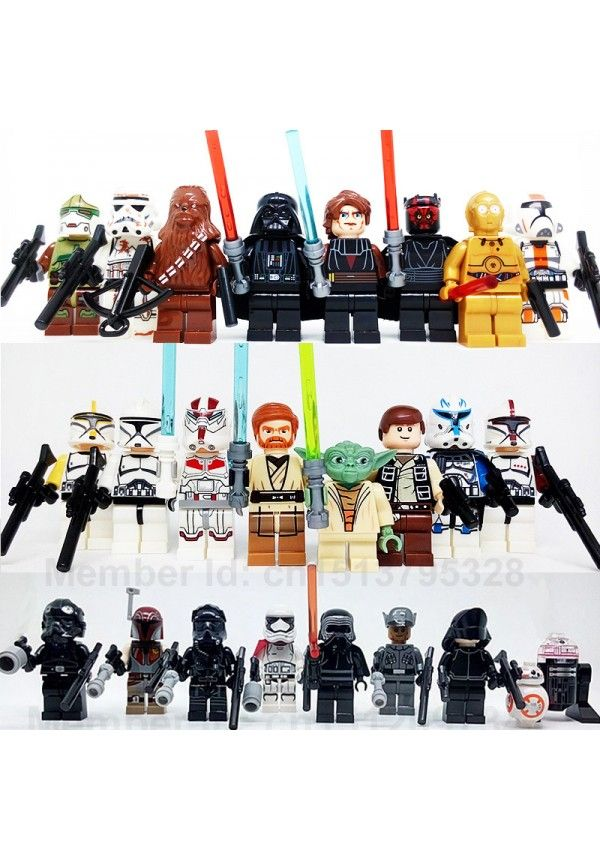 24 unids/set Star Wars Minifiguras Yoda Obi Wan Darth Vader BB8 la fuerza despierta bloques de ladrillos juguetes Lego Compatible