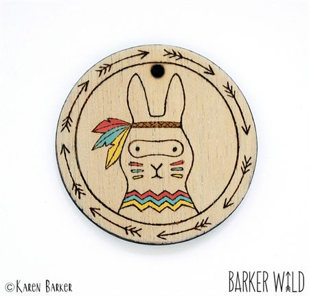 Tribal Bunny - Painted Pyrography Wearable Art Wood Rabbit Necklace by Barker Wild http://madeit.com.au/Main/Item?itemId=935132
