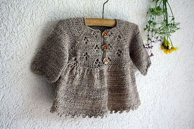 Ravelry: ittybitty's beauty of the fields. One-skein baby sweater knit in madelinetosh merino light fingering yarn. Beautiful, delicate, lacy.