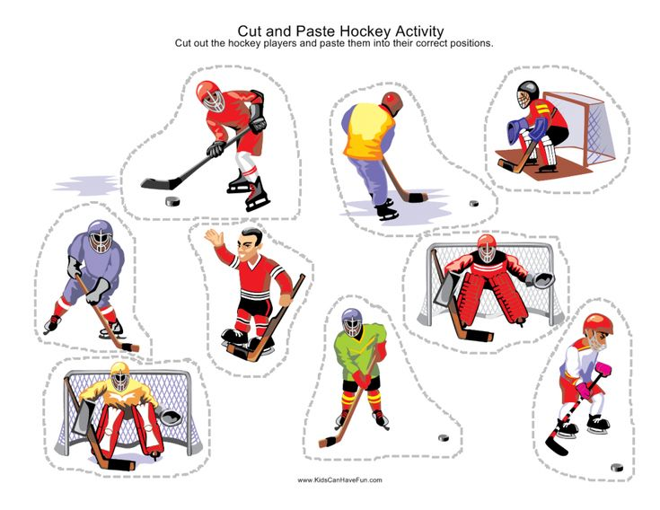 cut and paste hockey  Cut and Paste Sport Scenes