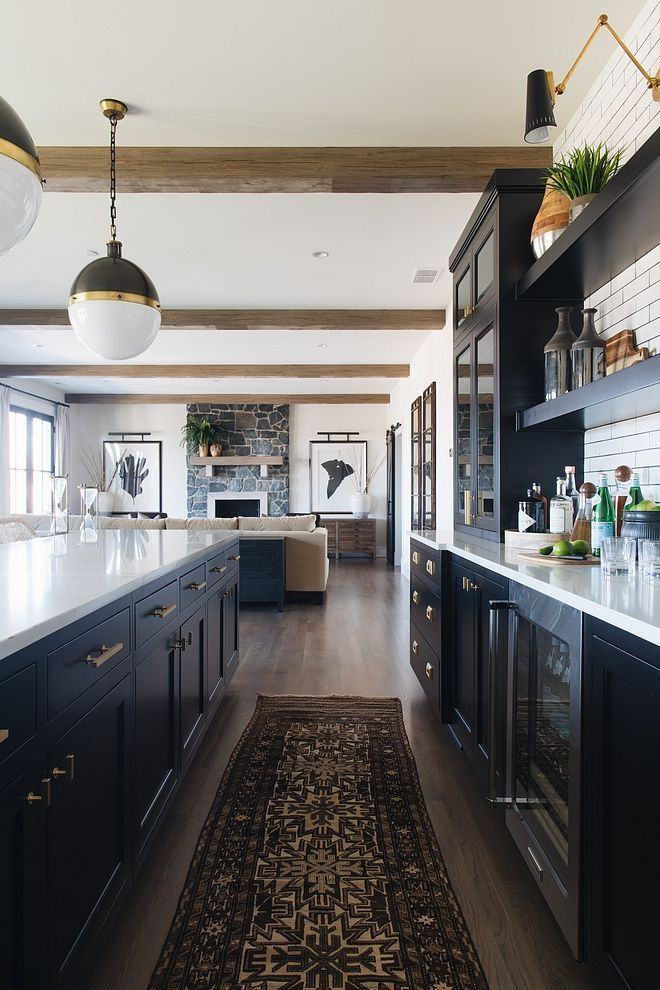 Farmhouse Black Cabinet Kitchen With Vintage Runner And Beams More