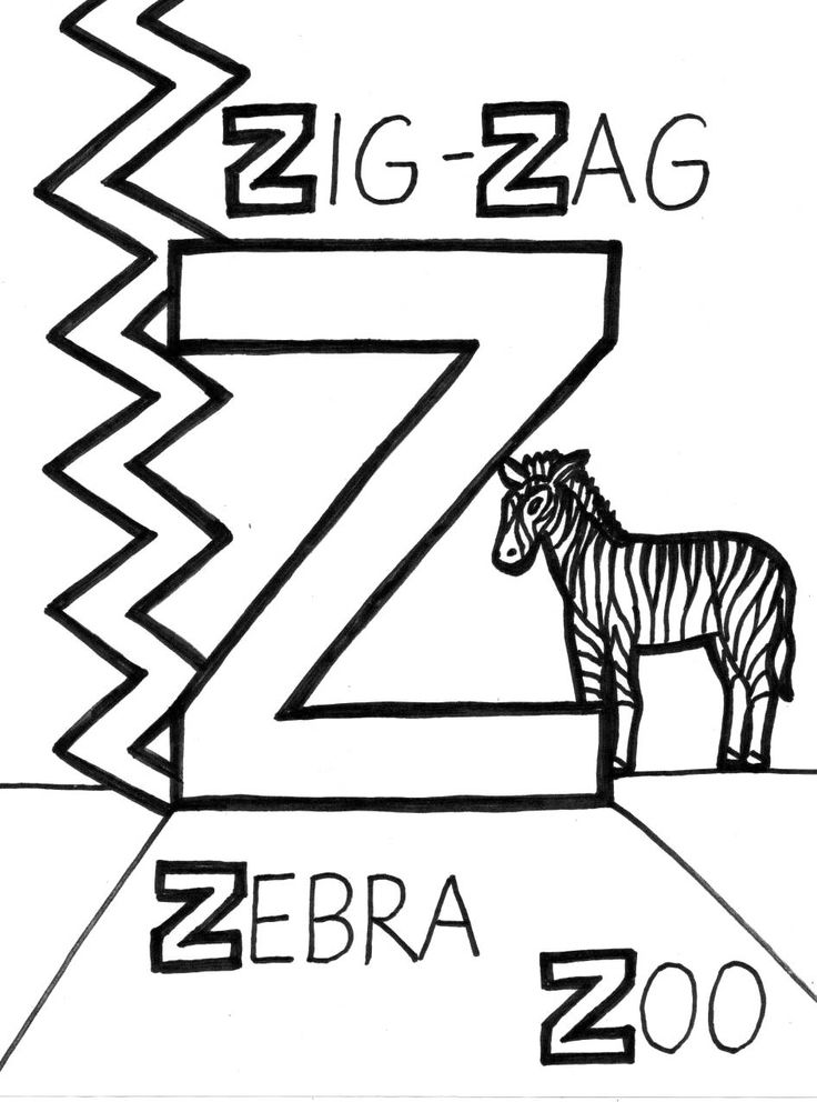 Z Is For Zig Zag Coloring Page