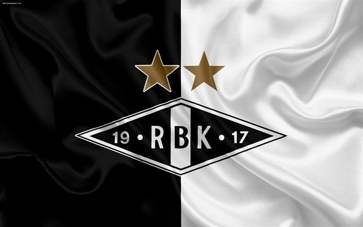 Download wallpapers Rosenborg BK, 4k, Norwegian football club, emblem, logo, Eliteserien, Norwegian Football Championships, football, Trondheim, Norway, silk flag, Rosenborg FC
