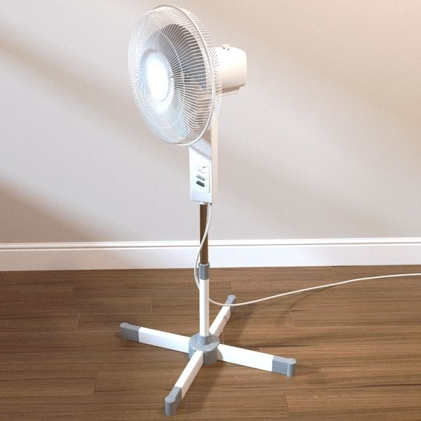Freestanding fan 3D Model- A detailed freestanding fan.    Each part is grouped/meshed separately for adding your own materials.  Includes texture map for button numbers.    The flex is also a single mesh, so could be easy removed if required. - #3D_model #Appliances,#Other Appliances,#Other Home and Office Furniture