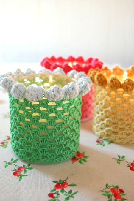 Free pattern @ Rosehip - bobbled candle-holder cover  ✿⊱╮Teresa Restegui http://www.pinterest.com/teretegui/✿⊱╮