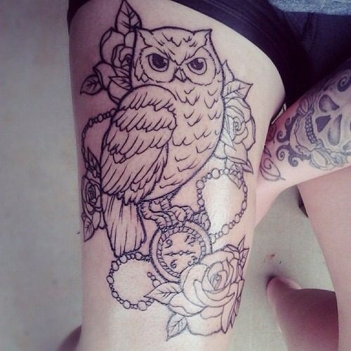 Owl tattoos on thigh