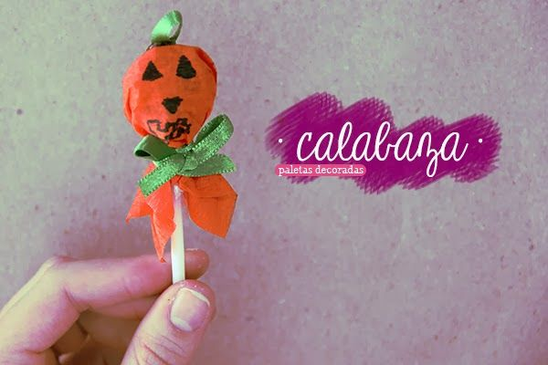 Dulce calabaza paleta decorada para halloween - Calabazas decoradas para halloween ...