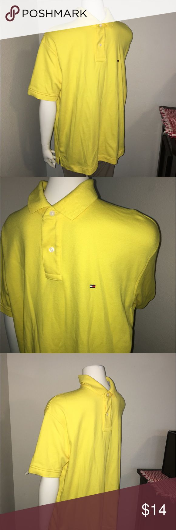 """Mens yellow tommy hilfiger SS polo shirt sz: L Thank you for viewing my listing, for sale is a Tommy Hilfiger brand, men's, yellow, short sleeve, Polo shirt Sz: L Colors: yellow If you have any questions or would like additional photos please feel free to ask.  From under one arm to under the other measures appx 24"""" from the top of the shoulder to the bottom of the shirt measures 28"""" Tommy Hilfiger Shirts Polos"""