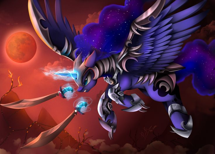 e621 absurd_res armor blue_eyes blue_feathers cosmic_hair cutie_mark equine feathered_wings feathers friendship_is_magic hi_res hooves horn magic mammal melee_weapon my_little_pony pridark princess_luna_(mlp) sword weapon winged_unicorn wings