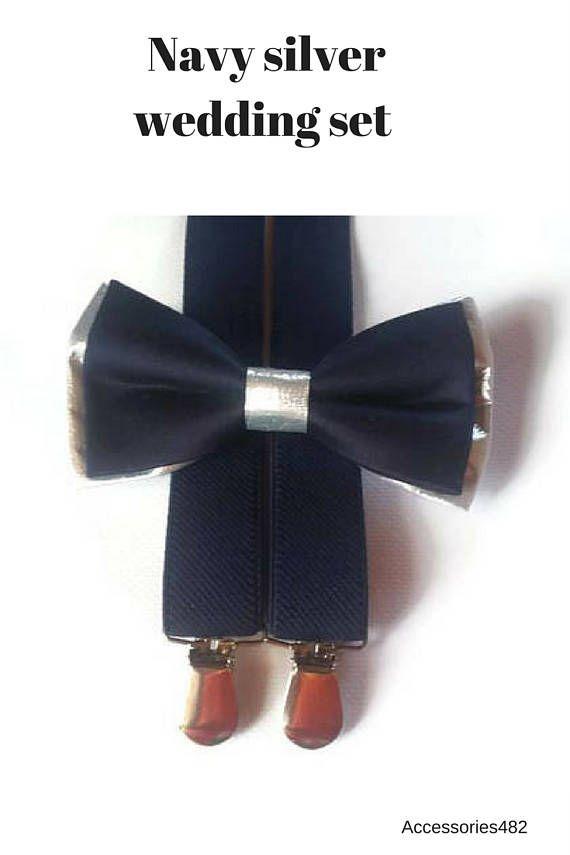 DARK blue silver bow tie and suspenders navy