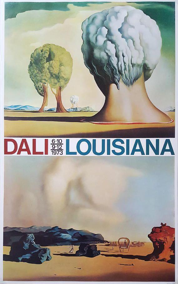 Louisiana Denmark Map%0A      Salvador Dal    Exhibition on Louisiana Museum  Denmark  Original  Vintage Poster