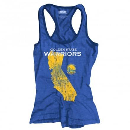 Golden State Warriors Majestic Threads Women's State Outline Triblend Contrast Racerback Tank – Royal - Golden State Warriors