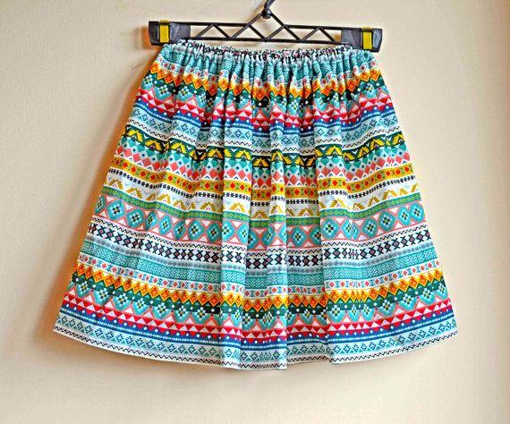 SALE, Aztec skirt, midi skirt, waisted skirt, printed skirt, cotton skirt, etno skirt, boho skirt, bohemian skirt, tribal skirt